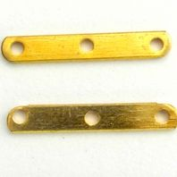 50 Gold Plated Spacer Bars 3 hole 12x2mm